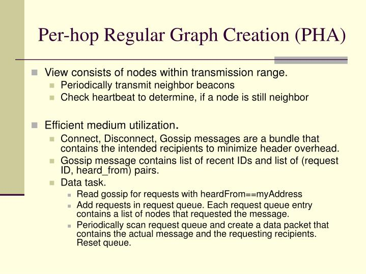 Per-hop Regular Graph Creation (PHA)