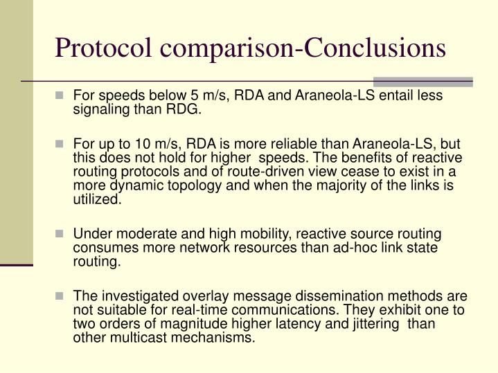 Protocol comparison-Conclusions