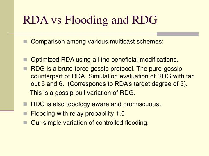 RDA vs Flooding and RDG