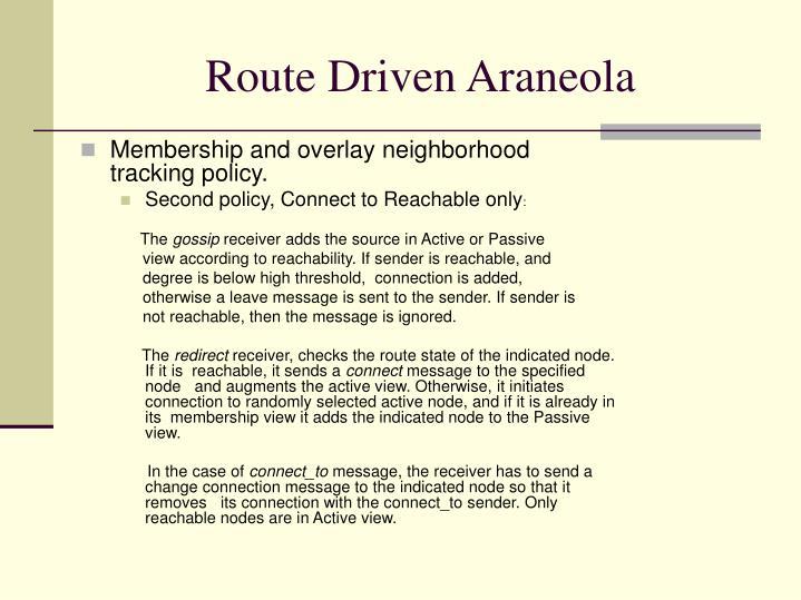 Route Driven Araneola