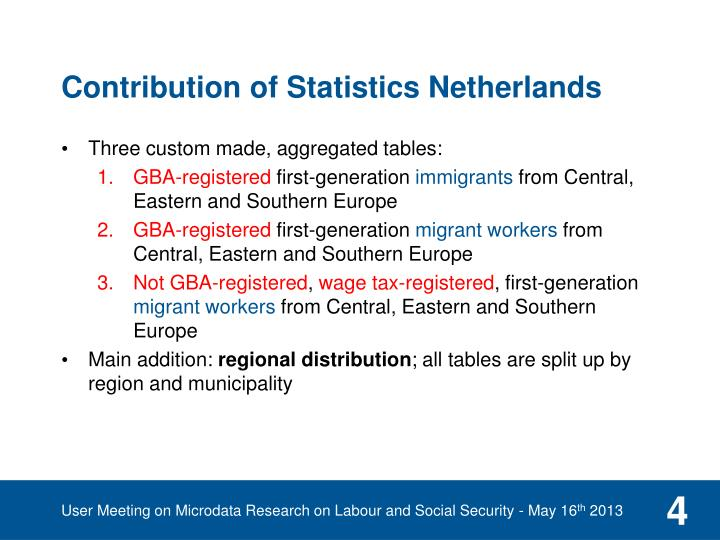 Contribution of Statistics Netherlands