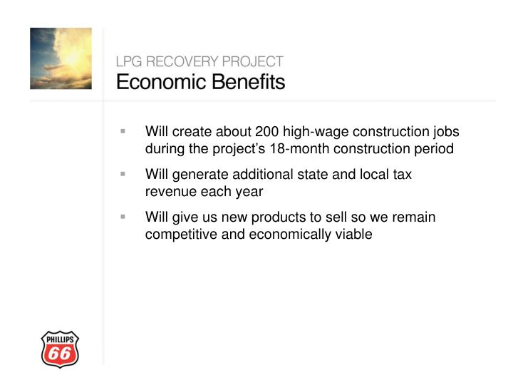 Will create about 200 high-wage construction jobs during the project's 18-month construction period