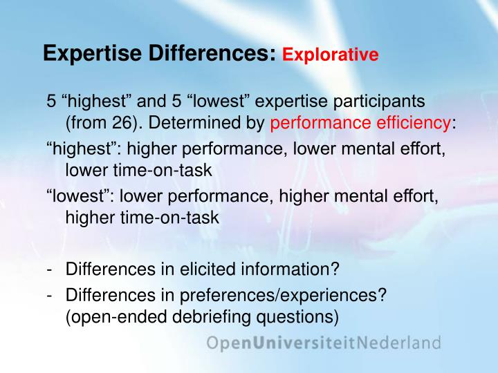 Expertise Differences: