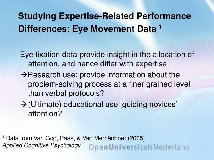Studying Expertise-Related Performance Differences: Eye Movement Data