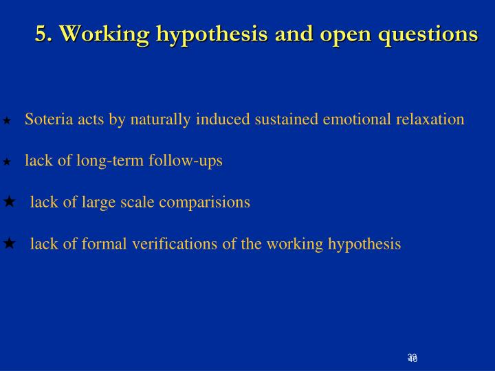5. Working hypothesis and open questions