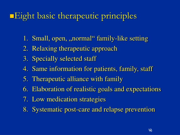 Eight basic therapeutic principles