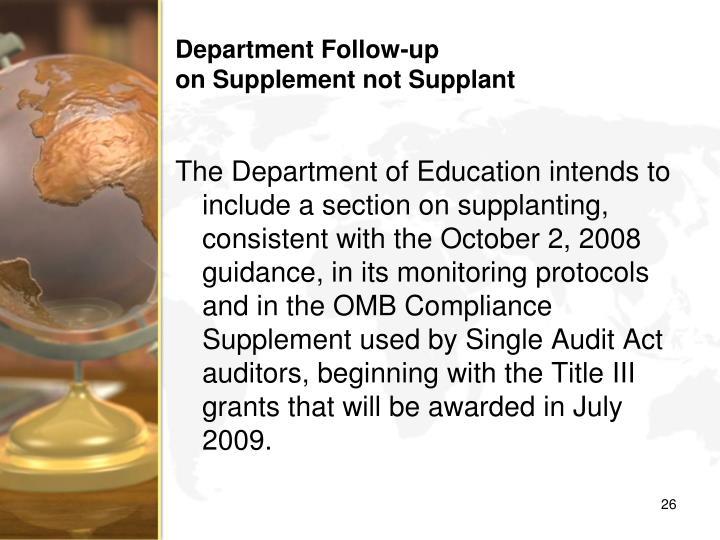 Department Follow-up