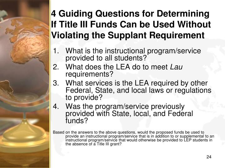 4 Guiding Questions for Determining If Title III Funds Can be Used Without Violating the Supplant Requirement