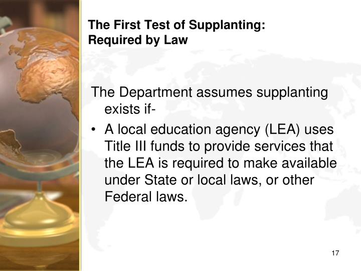 The First Test of Supplanting: