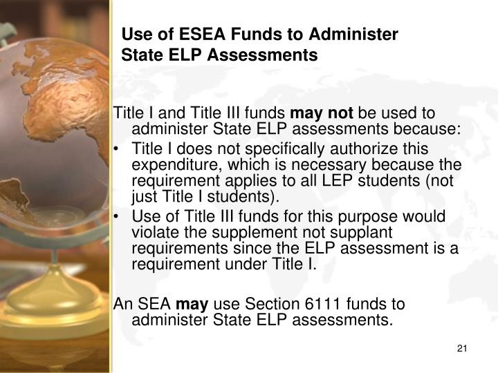 Use of ESEA Funds to Administer