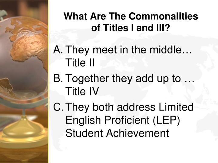 What Are The Commonalities