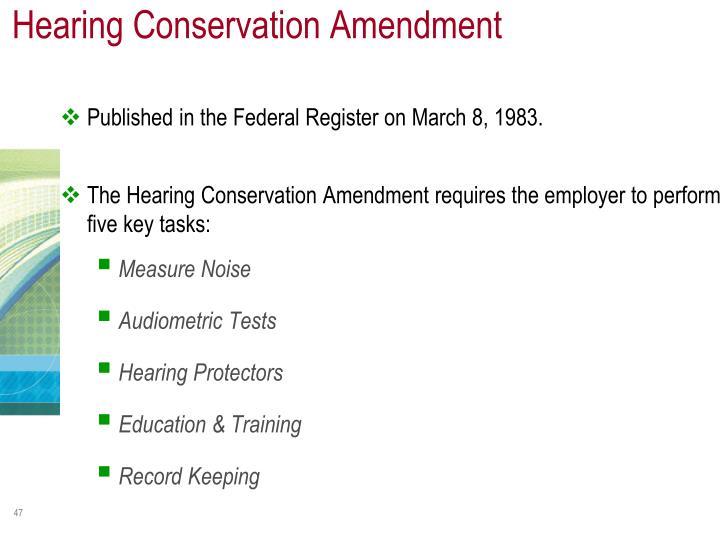 Hearing Conservation Amendment