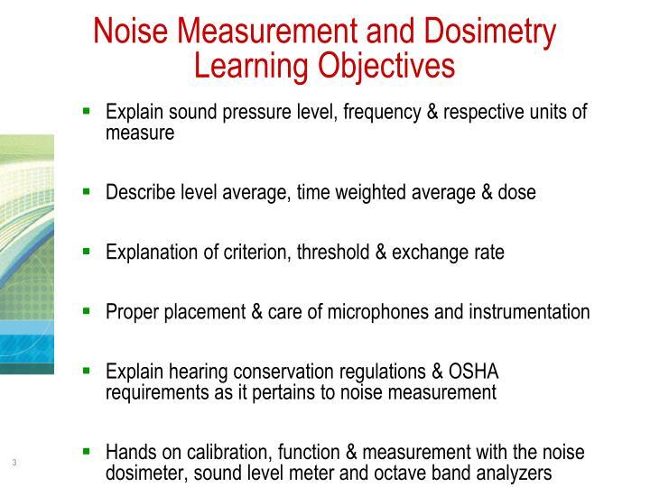 Noise Measurement and Dosimetry