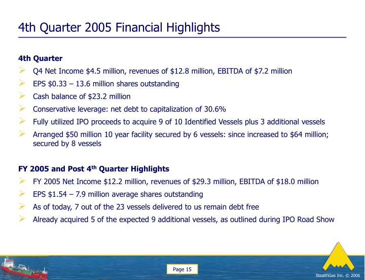 4th Quarter 2005 Financial Highlights