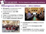 convergences 2015 forum 2011 edition
