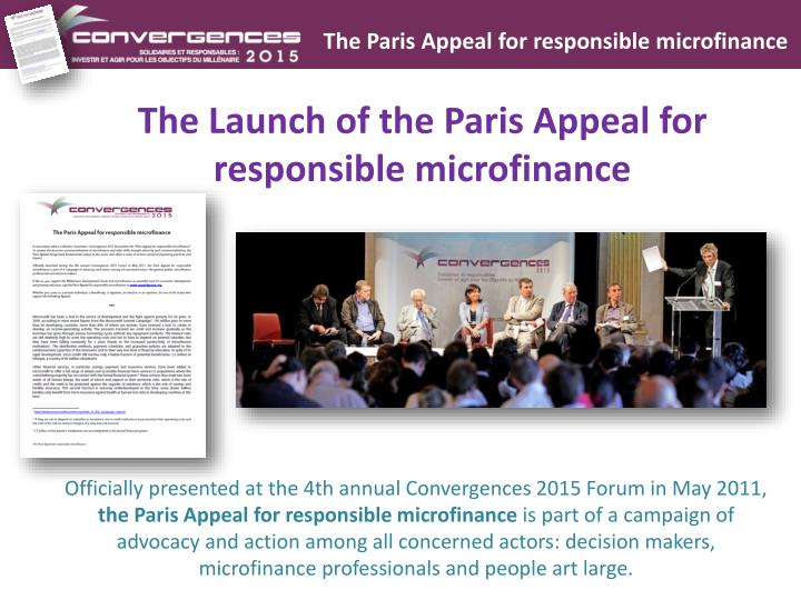 The Paris Appeal for responsible microfinance