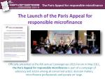 the launch of the paris appeal for responsible microfinance