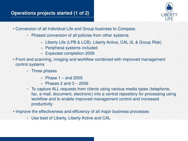 Operations projects started (1 of 2)