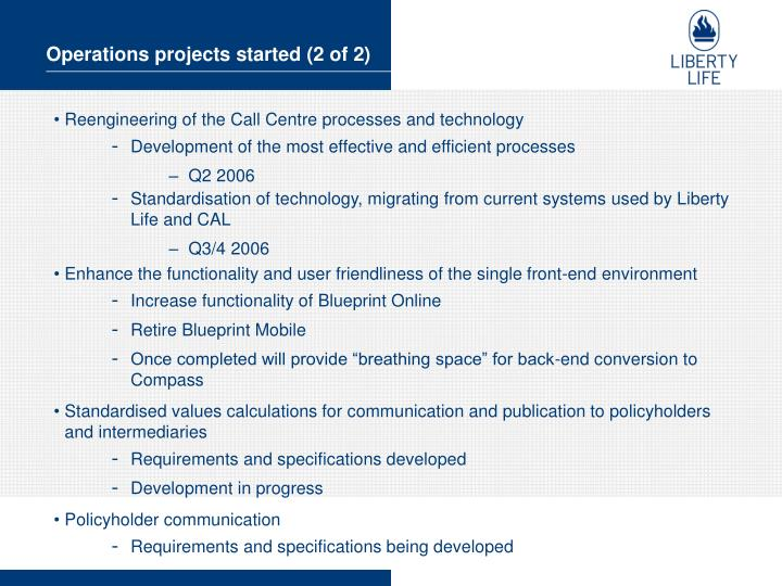 Operations projects started (2 of 2)