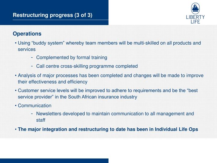 Restructuring progress (3 of 3)