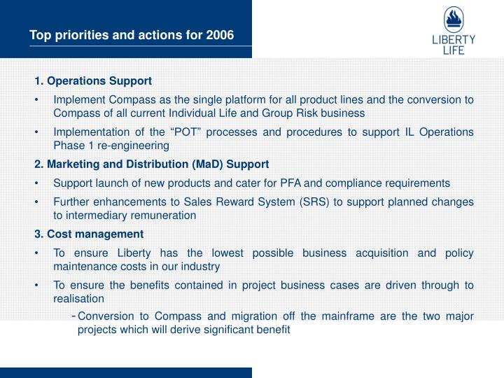 Top priorities and actions for 2006
