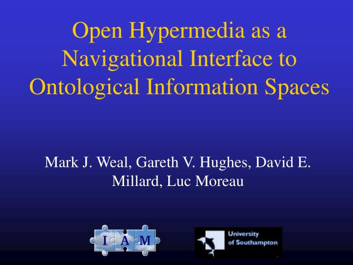 Open Hypermedia as a Navigational Interface to