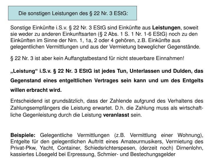 Die sonstigen Leistungen des § 22 Nr. 3 EStG: