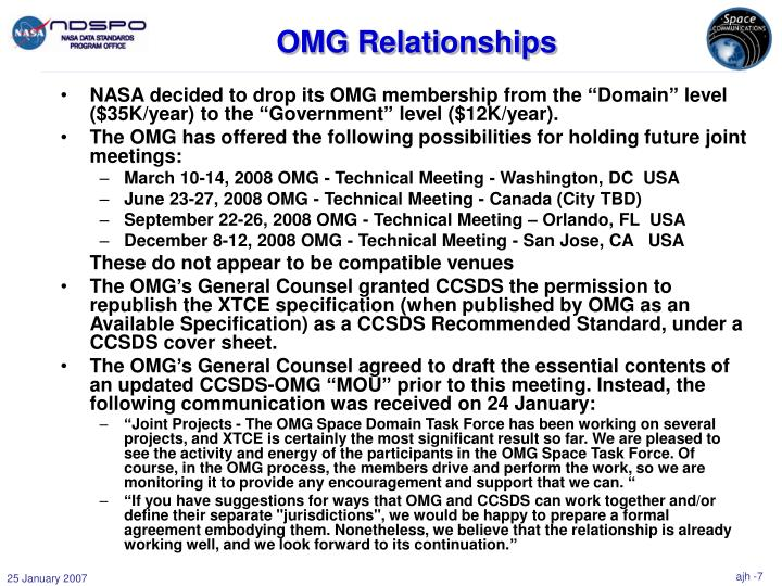 """NASA decided to drop its OMG membership from the """"Domain"""" level ($35K/year) to the """"Government"""" level ($12K/year)."""