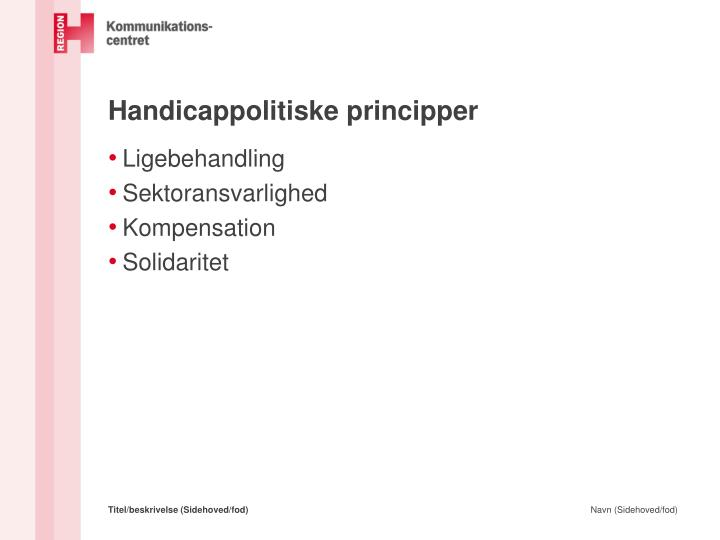 Handicappolitiske principper