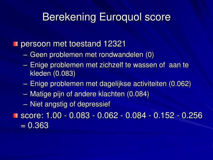 Berekening Euroquol score