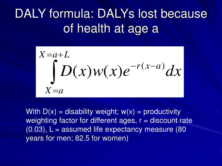 DALY formula: DALYs lost because of health at age a