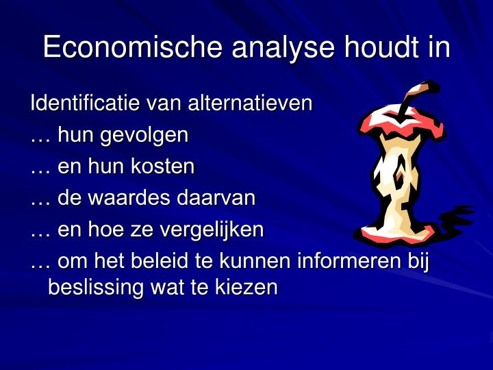Economische analyse houdt in
