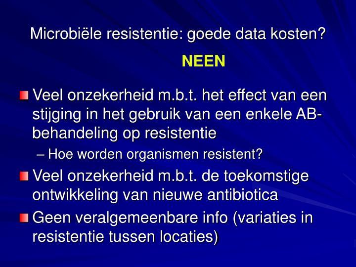 Microbiële resistentie: goede data kosten?