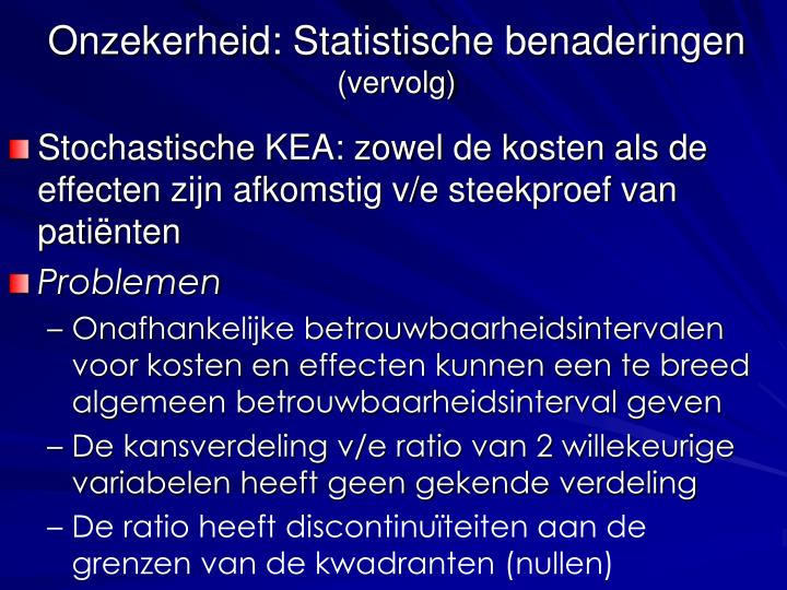 Onzekerheid: Statistische benaderingen