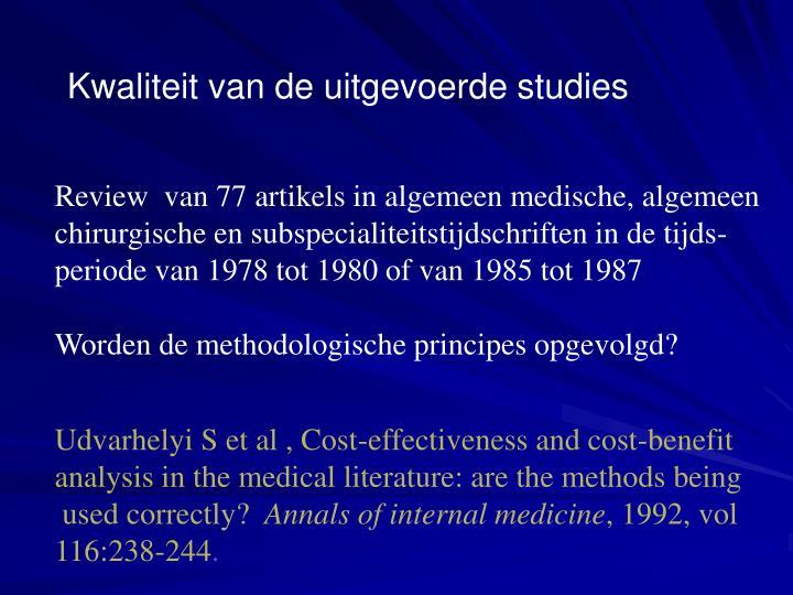 Kwaliteit van de uitgevoerde studies