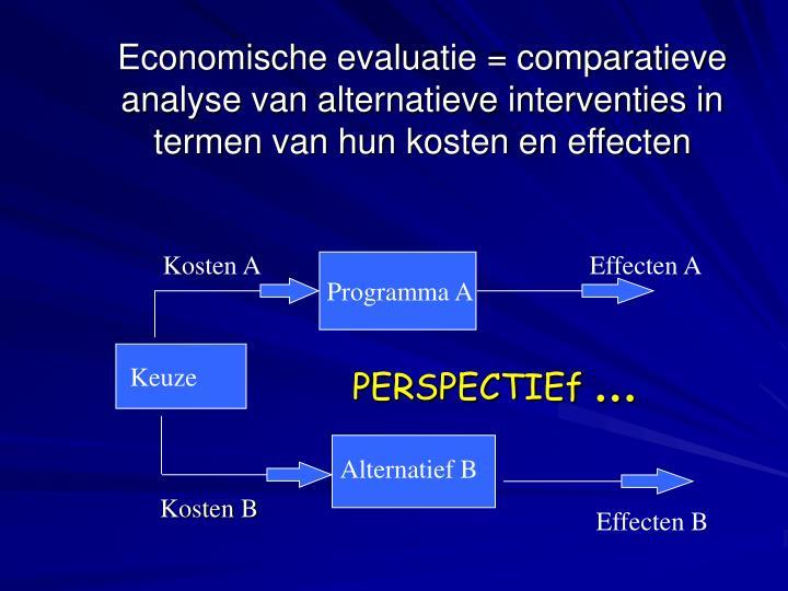 Economische evaluatie = comparatieve analyse van alternatieve interventies in termen van hun kosten en effecten
