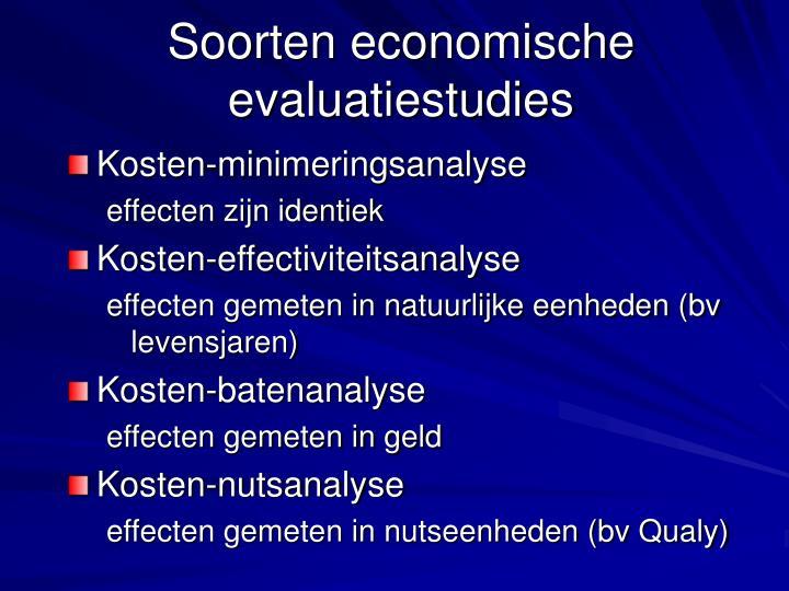 Soorten economische evaluatiestudies