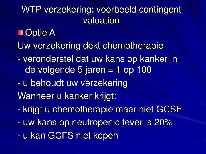 WTP verzekering: voorbeeld contingent valuation