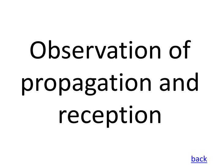 Observation of propagation and reception