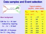 data samples and event selection