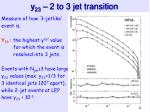 y 23 2 to 3 jet transition