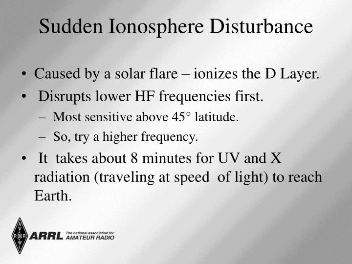 Caused by a solar flare – ionizes the D Layer.