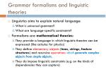 grammar formalisms and linguistic theories