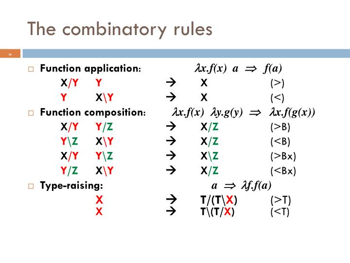 The combinatory rules