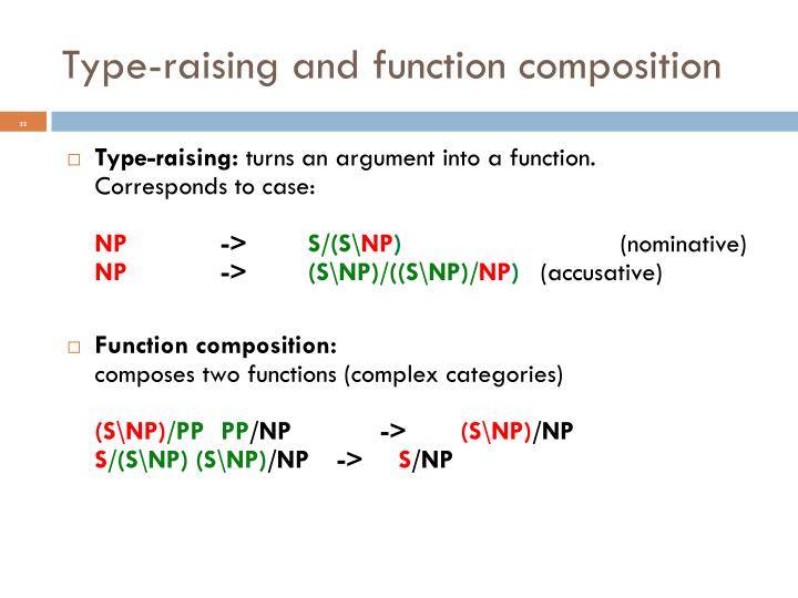 Type-raising and function composition
