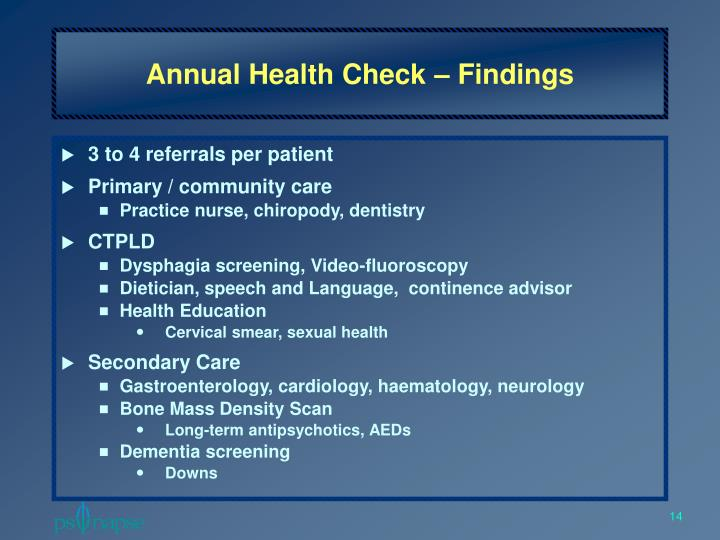 Annual Health Check – Findings