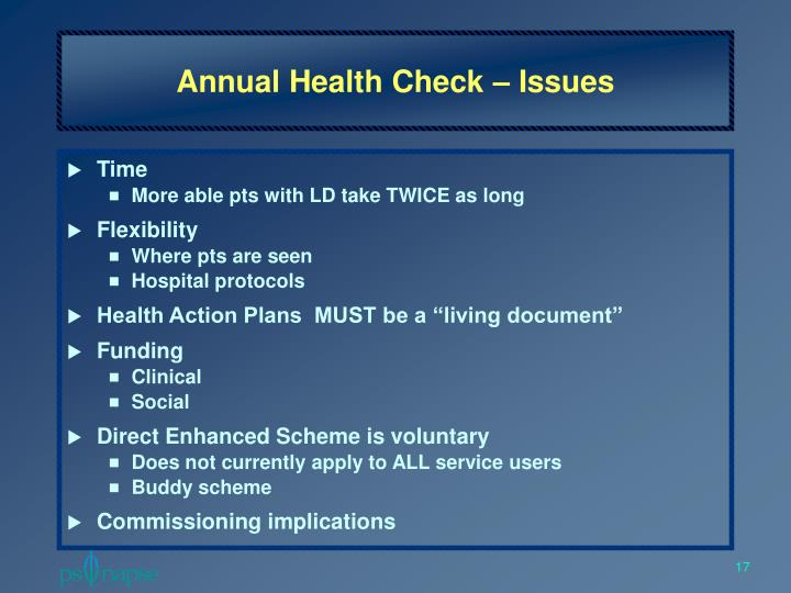 Annual Health Check – Issues