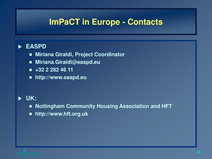 ImPaCT in Europe - Contacts