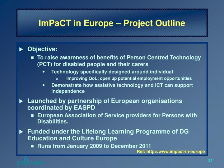 ImPaCT in Europe – Project Outline