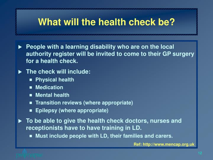 What will the health check be?